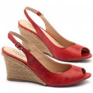 Anabela Corda com salto de 7cm em couro vermelho - Código - 9416