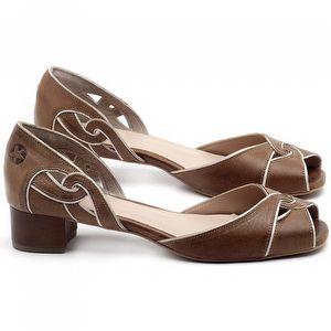 Sandália Salto Baixo de 4cm em couro Marrom Conhaque - Código - 3662