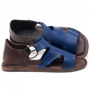 Rasteira Flat em couro Azul Bic - Código - 141094