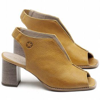 Sandália Salto Médio de 6cm em couro Amarelo Citrus - Código - 3632