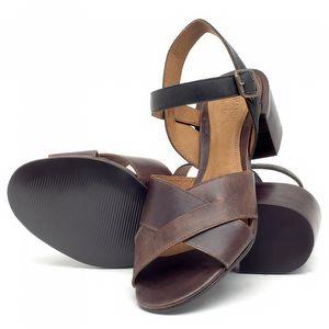 Sandália Salto de 6cm em couro Marrom Tan com Preto - Código - 56171