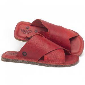 Rasteira Flat em couro Vermelho Tropical - Código - 141155