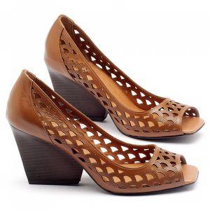Peep Toe Salto Medio de 6cm em couro marrom 3498