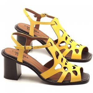 Sandália Salto de 6cm em couro Amarelo - Código - 3508