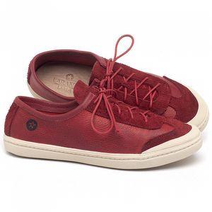 Tênis Cano Baixo em couro Vermelho Tropical - Código - 141145