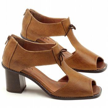 Sandália Salto Médio de 6cm em Couro Caramelo - Código - 3581