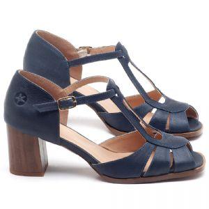 Sandália Salto em couro Azul Marinho - CÓDIGO - 3689
