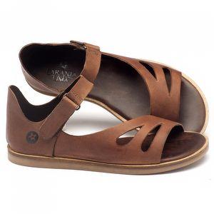 Rasteira Flat em couro marrom - Código - 141016