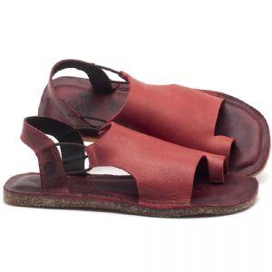 Rasteira Flat em couro Vermelho - Código - 141097