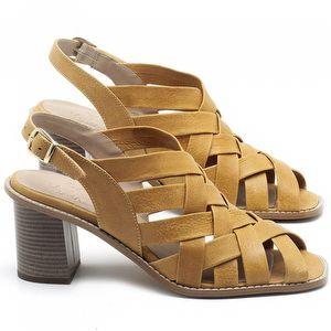 Sandália Salto Médio de 6cm em couro Amarelo - Código - 3544