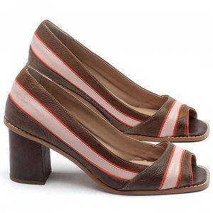 Peep Toe Salto Medio de 6cm em couro Marrom Conhaque com Rosa Flamingo - Código - 3649