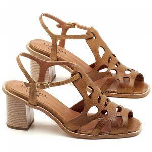 Sandália Salto de 6cm em Couro Caramelo - Código - 3508