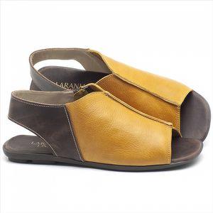 Rasteira Flat em couro Amarelo - Código - 9465