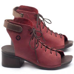 Sandália Boho com Salto Médio de 5cm em couro Vermelho - Código - 137193