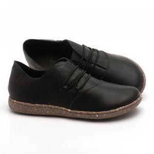 Flat Shoes em couro Preto - Código - 137268
