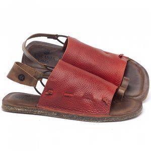 Rasteira Flat em couro Vermelho Tropical - Código - 141154