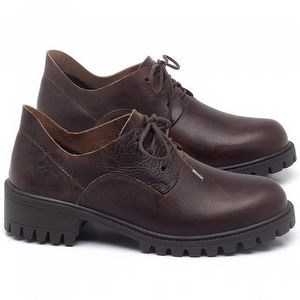 Sapato Fechado Estilo Boho-Chic em couro Marrom Tan - Código - 137263