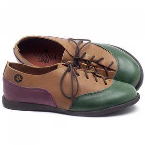 Flat Shoes em couro Verde, Conhaque e Açaí - Código - 137224