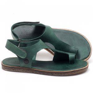 Rasteira Flat em couro verde - CÓDIGO - 141102
