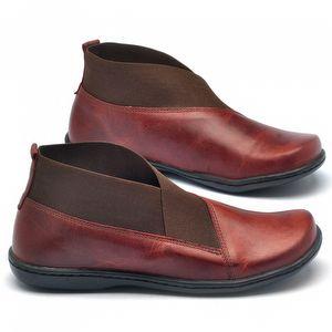 Flat Boot em couro vermelho 56086