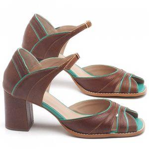 Sandália Salto Médio de 6cm em couro Marrom Conhaque com Hortelã - Código - 3636