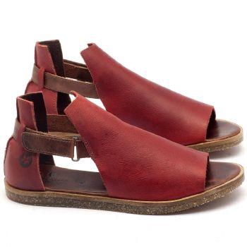 Rasteira Flat em couro vermelho - Código - 141040