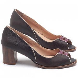 Sandália Salto Médio de 6cm em couro Chocolate - Código - 3700
