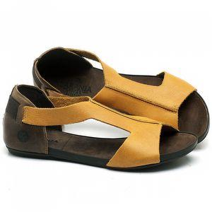 Rasteira Flat em couro Amarelo - Código - 137186