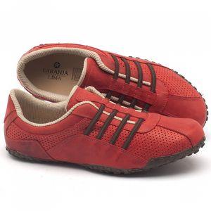 Tênis Cano Baixo em couro vermelho - Código - 9409