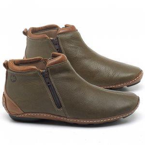 Flat Boot em couro Verde Musgo - Código - 136094