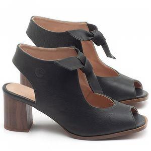 Sandália Salto Médio de 6cm em couro Preto - Código - 3688