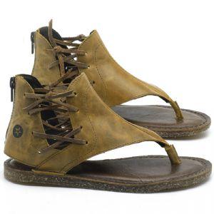 Rasteira Flat em couro Amarelo - Código - 141114