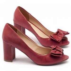 Peep Toe Salto Medio salto médio de 7cm em couro vermelho - Código - 9404