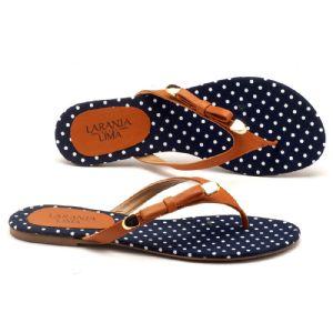 Rasteira Flat poa azul  9365
