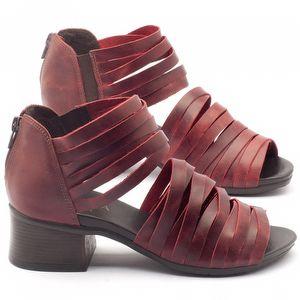 Sandália Boho em couro vermelho com salto de 5cm - Código - 137118