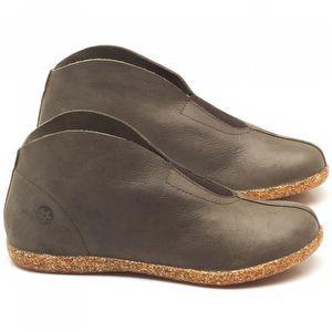 Flat Boot em couro cinza chumbo - Código - 137154