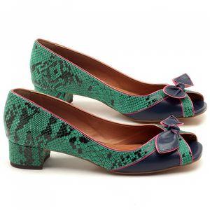 Peep Toe Salto Medio de 4cm em couro animal print cobra verde e pink - Código - 3473