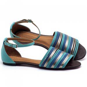 Rasteira Flat em couro Azul Piscina com Bic - Código - 56185