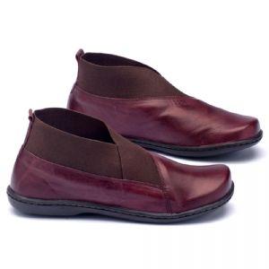 Flat Boot em couro bordô 56086