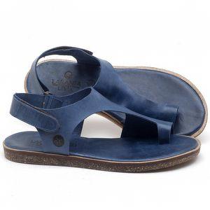 Rasteira Flat em couro Azul Bic - Código - 141102