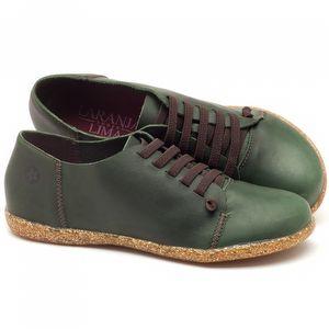 Tênis Cano Baixo em couro verde militar - Código - 137150