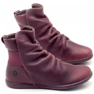 Flat Boot em couro Vinho - Código - 137171