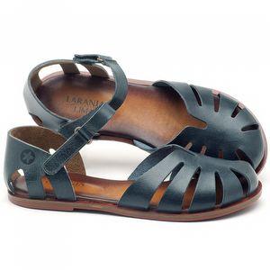 Rasteira Flat em couro azul marinho - Código - 136072