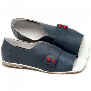 Rasteira Flat em couro azul - Código 145002