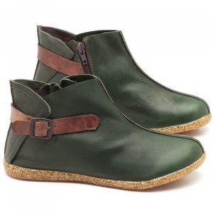 Flat Boot em couro verde militar - Código - 137144