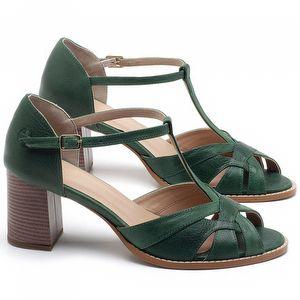 Sandália Salto Médio de 6cm em couro Verde Bandeira - Código - 3628