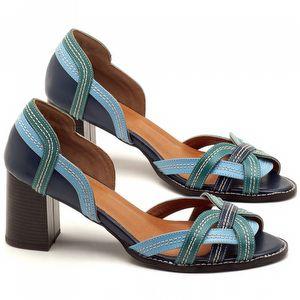 Peep Toe Salto Medio de 6cm em couro Azul Indigo - Código - 3545