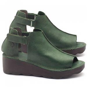 Anabela Tratorada em couro verde - Código - 141007