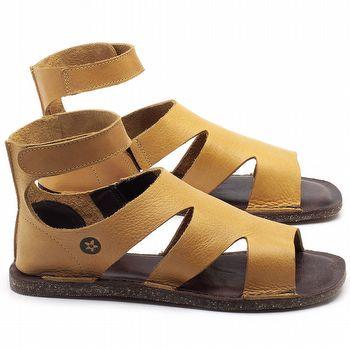 Rasteira Flat em couro Amarelo - Código - 141096