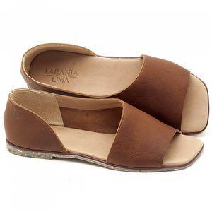 Rasteira Flat em couro Caramelo - Código - 145013